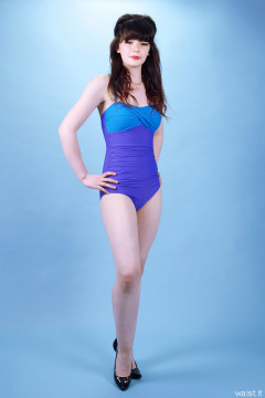 p20160522 Ronnie97 in vintage style purple and blue tummy-control one-piece swimsuit, by M&S