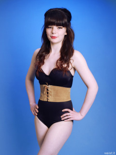 20160522 Ronnie97 in black strapless Miraclesuit bodyshaper and leather corset belt