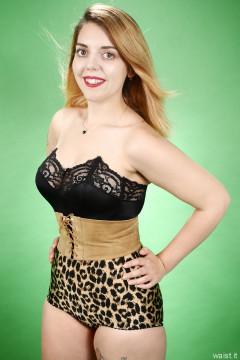 2016-07-10 Pixie-Lou in black strapless bra and animal print pantie girdle, worn as hotpants