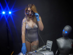 2016-07-10 Pixie-Lou in the cloning lab wearing silver Naturana pantie Corselette