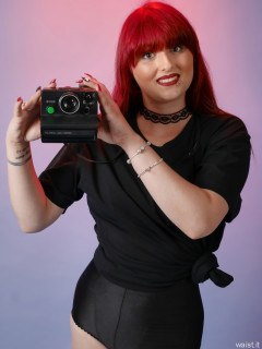2016-09-03 Miss Danni Lou black t-shirt and control briefs worn as hotpants
