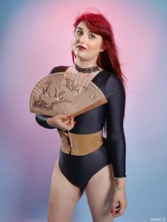 2016-09-03 Miss Danni Lou leotard and leather corset-belt