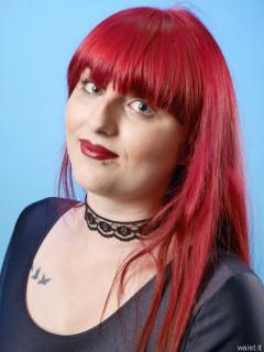 2016-09-03 Miss Danni Lou red underbust corset worn over black leotard