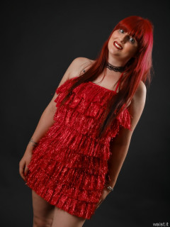 2016-09-03 Miss Danni Lou vintage red fluffy metallic dress