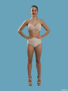 2016-09-09 Danielle Morrison beighe sports bra and 60s style panelled pantie girdle, worn as hotpants