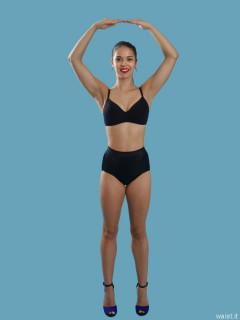 2016-09-09 Danielle Morrison black sports bra and contrl briefs worn as hotpants