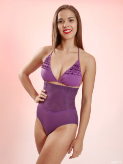 2016-09-09 Danielle Morrison in black strapless bra and purple Chinese waistnipper girdle