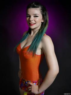2016-10-09 - Ronniee in orange top and multi-coloured bikini bottoms