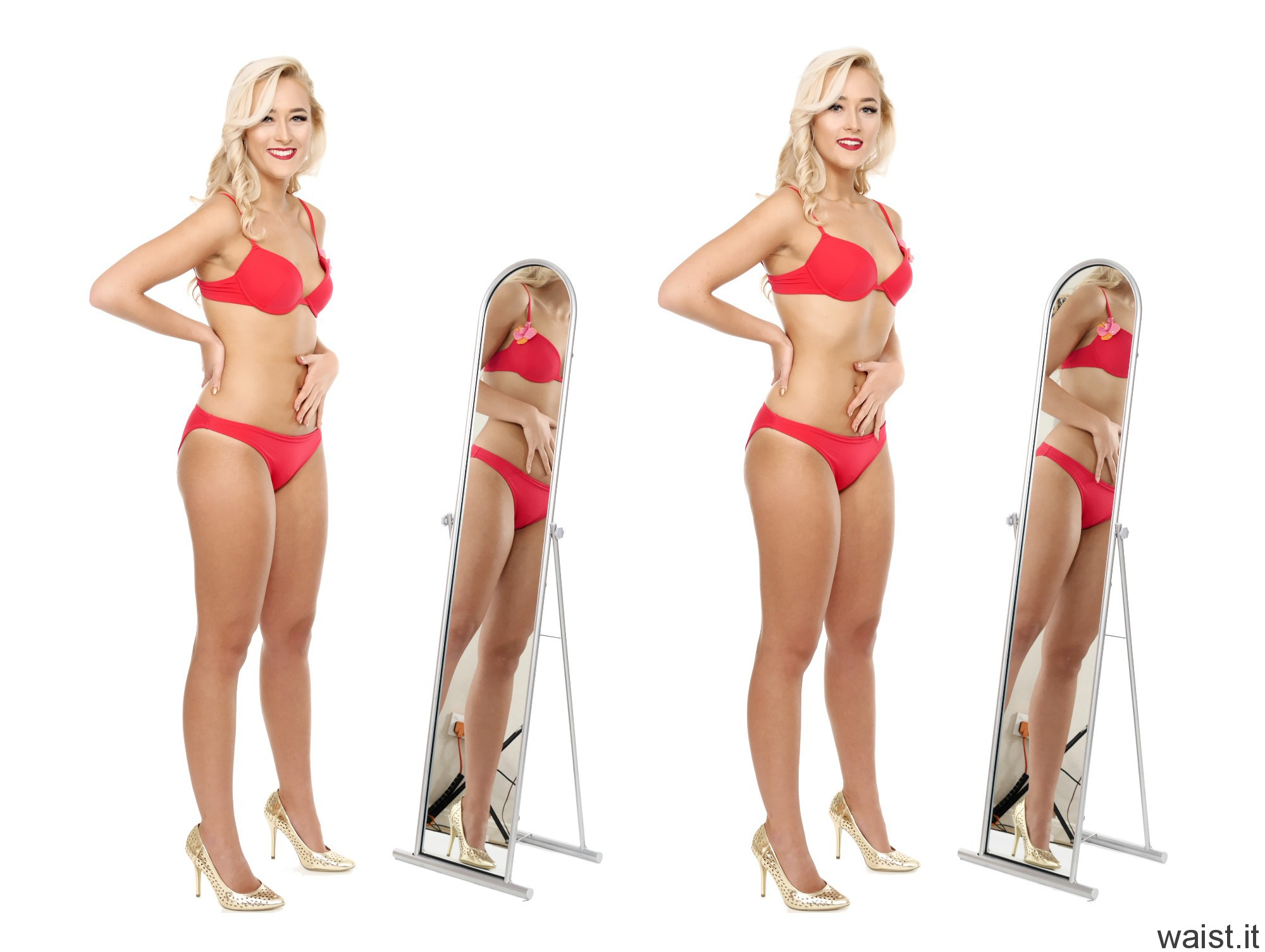 2016-11-06 Fleur fitness collage - in red bikini showing how to minimise waist and flatten tummy