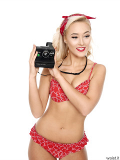 2016-11-06 Fleur in her own red frilly bikini with Polaroid camera