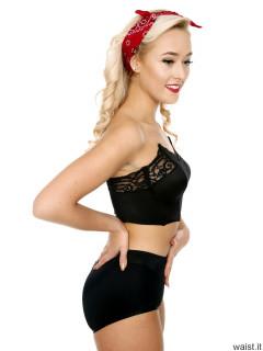 2016-11-06 Fleur in black strapless bra and black control briefs worn as hotpants
