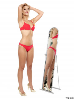 "2016-11-06 Fleur in red ""Love"" bikini stretching to show her tiny waist"