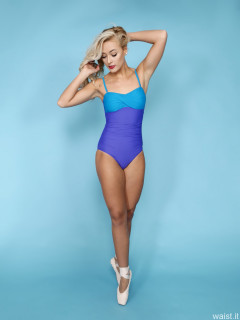 2016-11-06 Fleur in blue and purple vintage style tummy control swimsuit by M&S