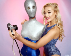 2016-11-06 Fleur in 1990s blue crocskin swimsuit with silver mannequin
