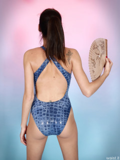 2016-11-20 MissGlamour in blue crocskin 80's style one-piece swimsuit