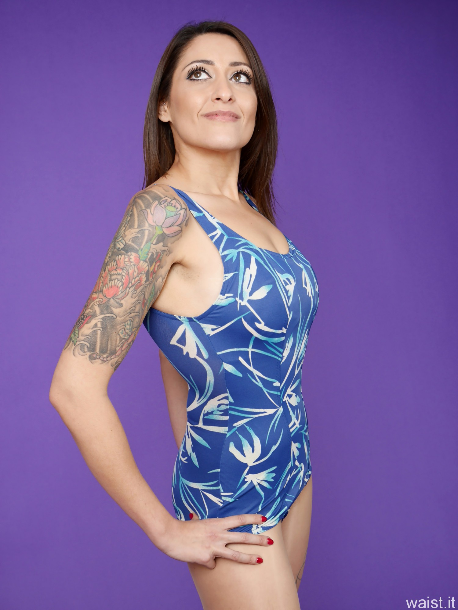 2016-11-26 Zoe34 in blue and white vintage one piece swimsuit by BHS