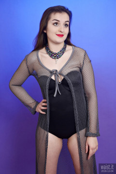 2016-12-04 Nannina in black Miraclesuit and fishnet coat