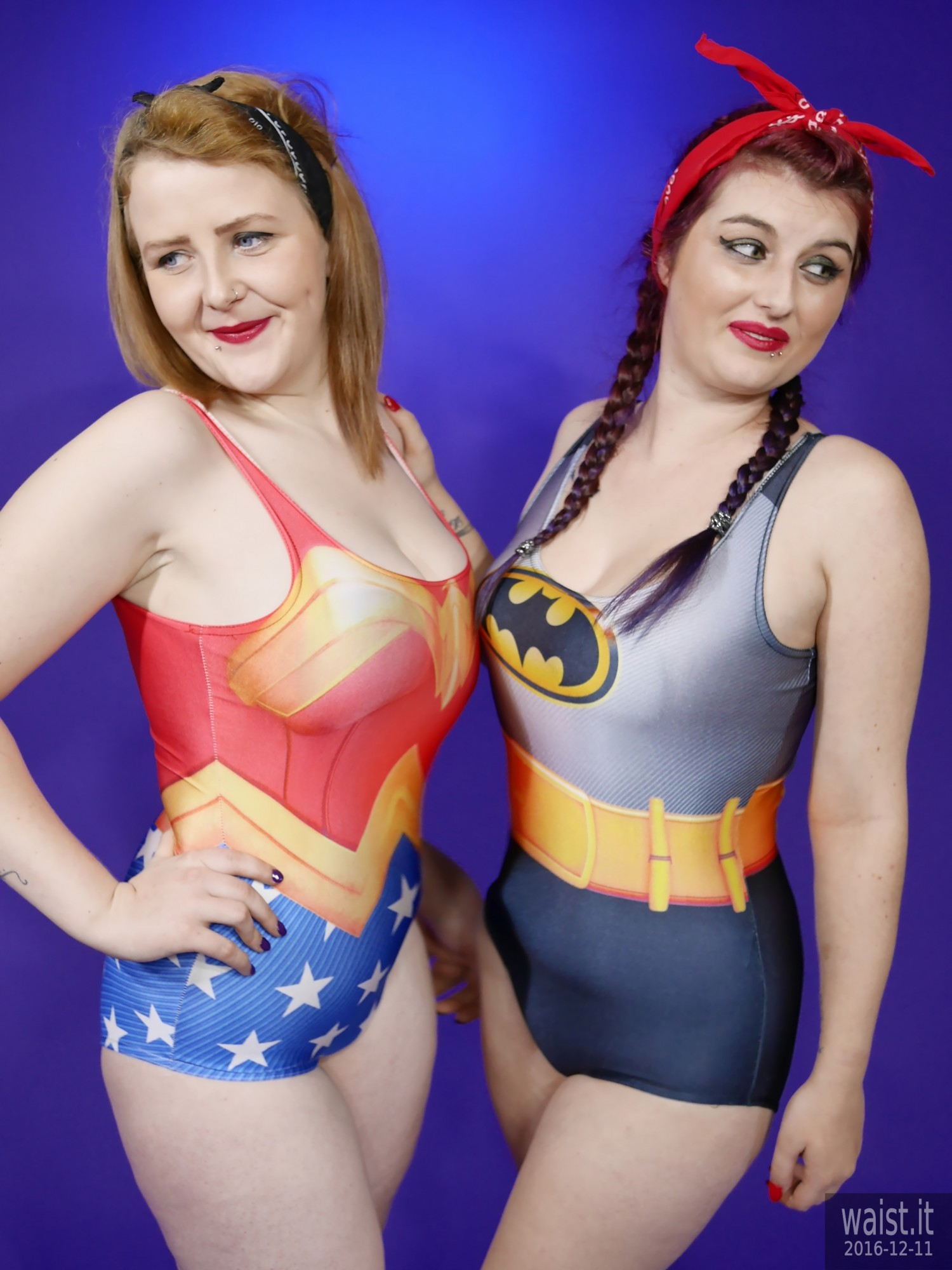 2019-12-11 Miss Danni Lou and her friend Char in superhero swimsuits