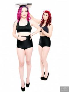 2017-01-21 MissDaniLou and Tasha bra and girdle figure exercises