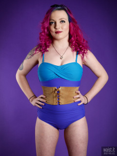 2017-01-21 Tasha in blue tummy-control vintage style one-piece swimsuit by M&S