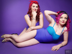 2017-01-21 MissDaniLou and Tasha in tight blue vintage style tummy-control one-piece swimsuits