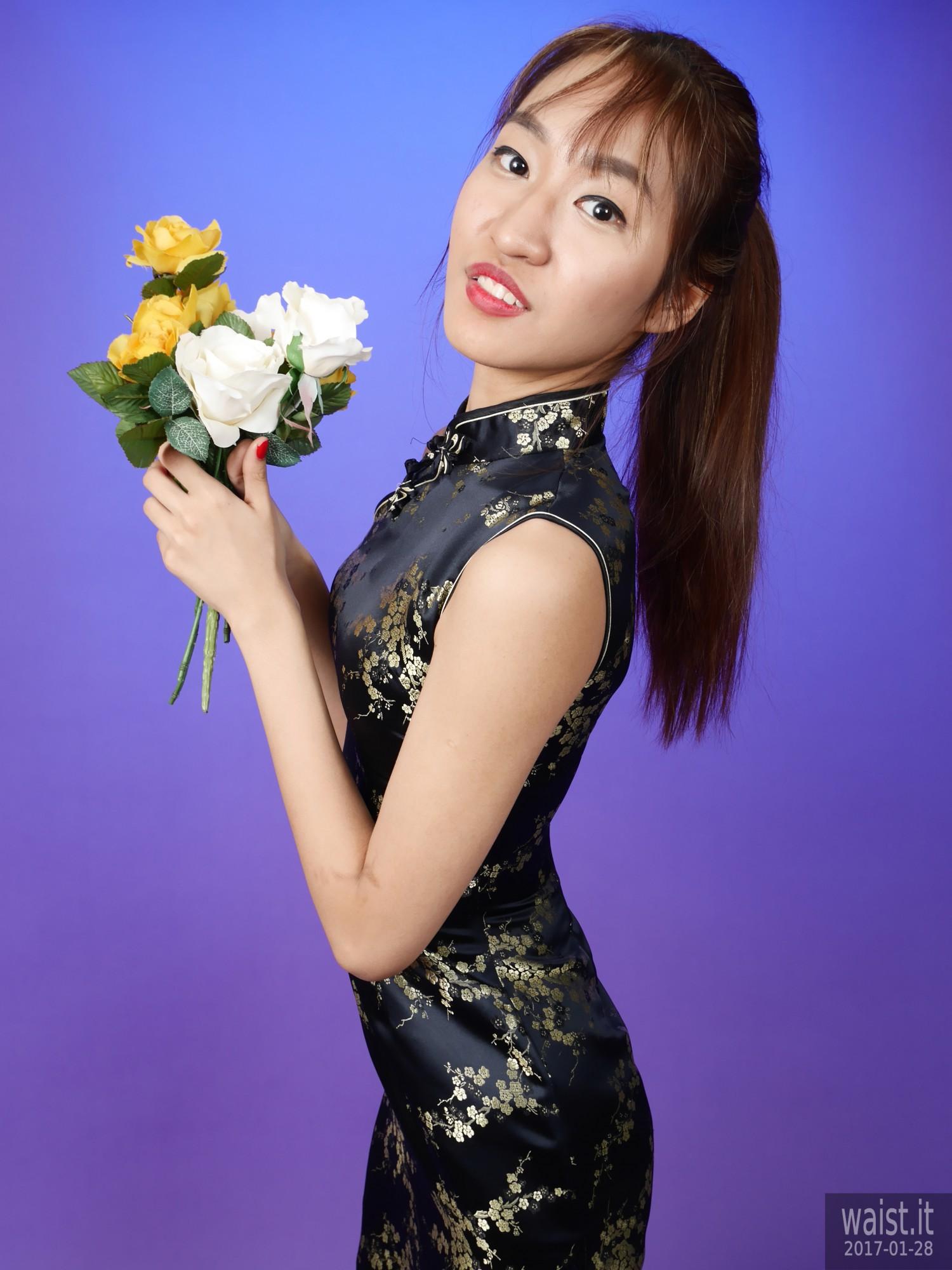 2017-01-28 Salina Pun black silk cheongsam