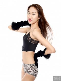 2017-01-28 Salina Pun black strapless bra and tight animal print control briefs worn as hot-pants