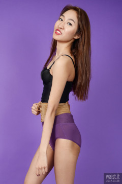2017-01-28 Salina Pun black longline bra top and high-waist purple girdle worn as hotpants - chosen by model