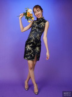 2017-01-28 Salina Pun black and gold cheongsam - chosen by model