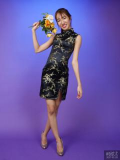 2017-01-28 Salina Pun black and gold cheongsam - chosen by model