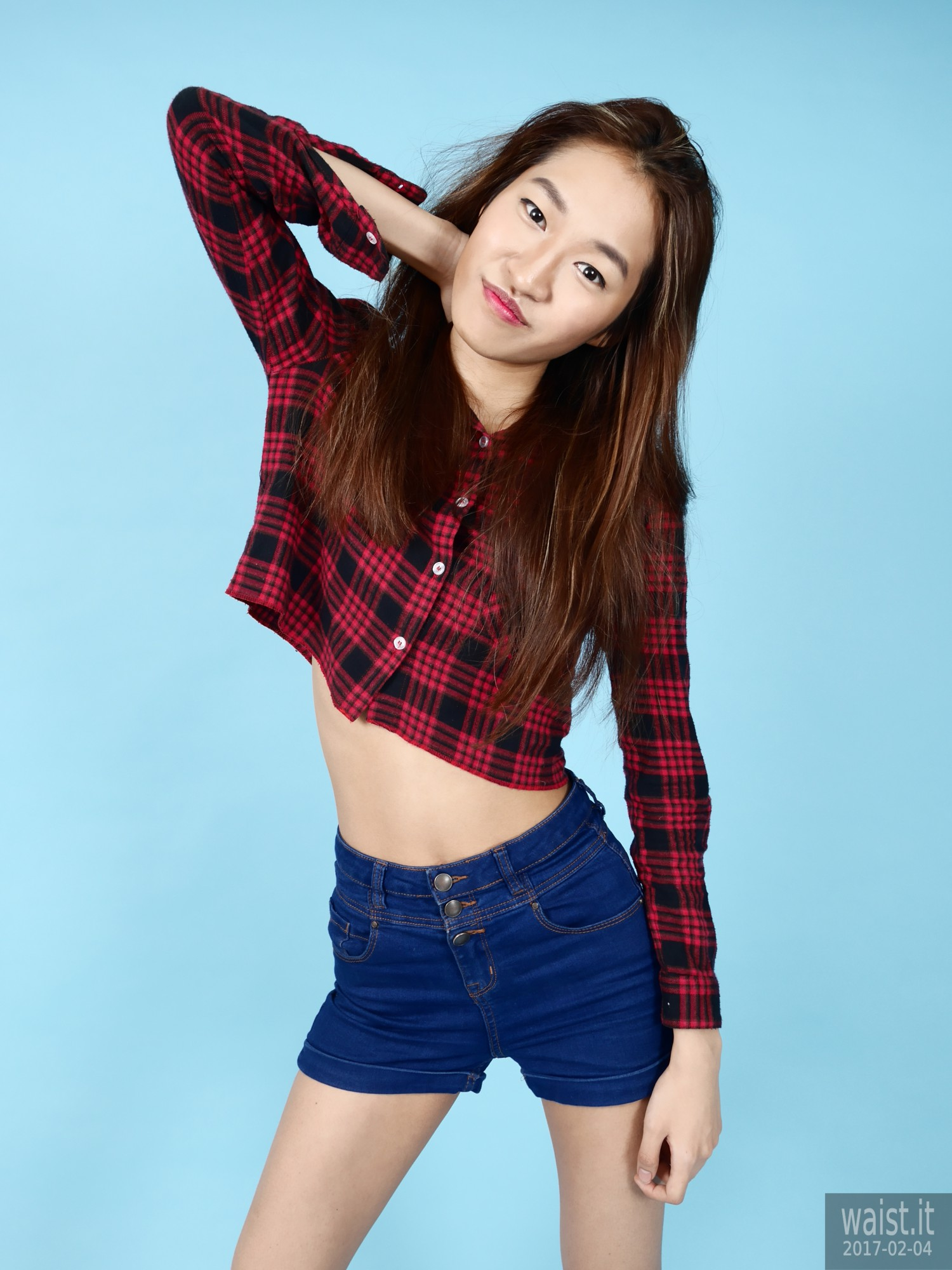 2017-02-04 Salina Pun in red check shirt and blue shorts - chosen by model
