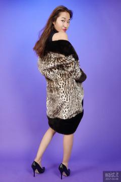 2017-02-04 Salina Pun little black stretchy lycra dress worn under fur coat