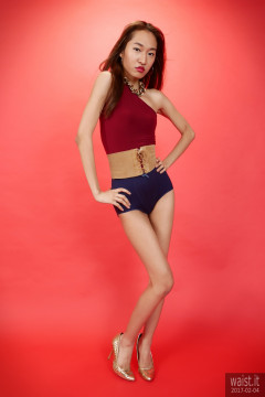 2017-02-04 Salina Pun little red dress, blue chinese giordle and leather corset belt to make an alt-wonderwoman costume