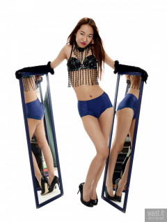 2017-02-04 Salina Pun jewelled dance top and stretchy lycra briefs worn as hotpants