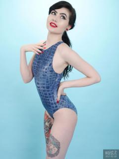 2017-02-18 Alexa Rose blue croc-skin one-piece swimsuit