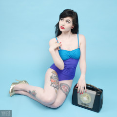 2017-02-18 Alexa Rose blue and violet one-piece tummy-control swimsuit by M&S