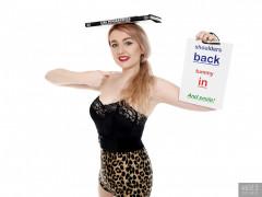 2017-03-11 LilyAmber black strapless bra and animal print control briefs worn as hotpants