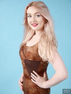 2017-03-11 LilyAmber copper Half Moon vintage one-piece swimsuit