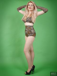 2017-03-11 LilyAmber animal-print high-waist two-piece swimsuit