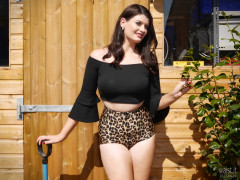 2017-04-09 Imogen black top and animal print control briefs worn as hotpants