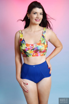 2017-04-09 Imogen multicoloured top and blue control briefs worn as hotpants