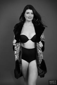 2017-04-09 Imogen black bra and vintage pantie girdle