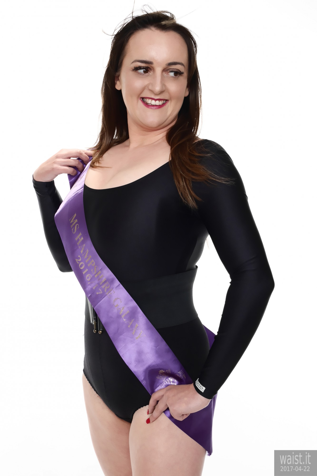 2017-04-22 Patsy black leotard and purple beauty pageant sash