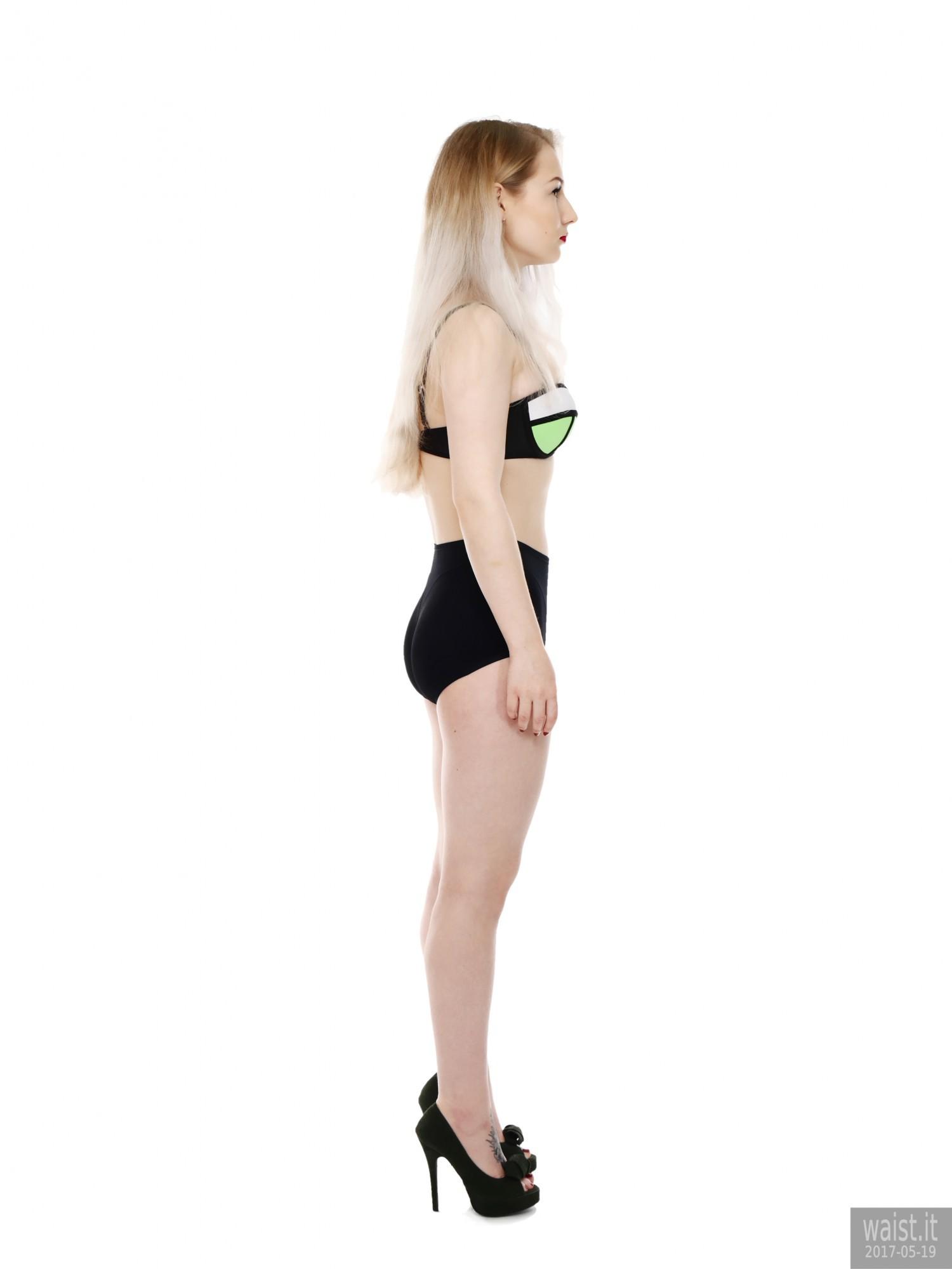 2017-05-19 Laura Sele bikini top and black control briefs worn as hotpants