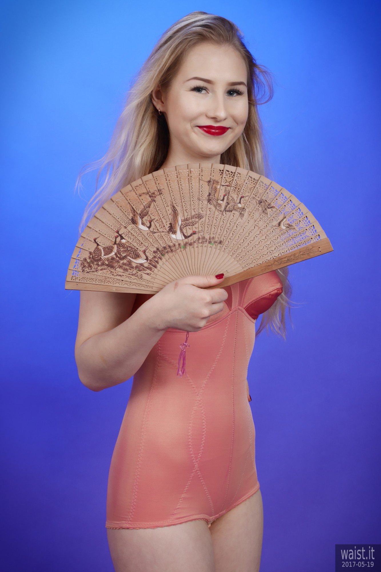 2017-05-19 Laura Sele pink 1960s pantie corselette