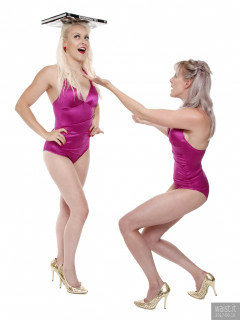 2017-06-10 Dayna Nirvana and Emma Lou doing deportment exercises in purple vintage-style tummy control swimsuits