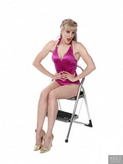 2017-06-10 Emma Lou in purple vintage-style tummy control swimsuit