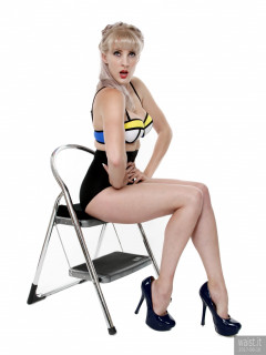 2017-06-10 Emma Lou in multi coloured neoprene bikini top and black lycra high-waisted control briefs, worn as hot pants