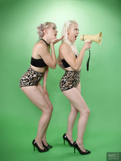 2017-06-10 Dayna Nirvana and Emma Lou in black boob tubes and animal print control briefs worn as hot pants
