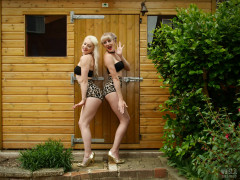2017-06-10 Dayna Nirvana and Emma Lou gardening in black boob tubes and animal print control briefs worn as hot pants
